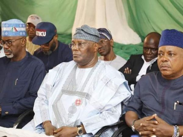 Atiku Abubakar (middle) with Prince Uche Secondus, PDP Chairman (right)
