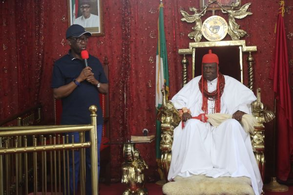 Delta State Governor, Senator Ifeanyi Okowa (left) and His Royal Majesty, Orhue I, the Orodje of Okp